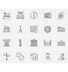 Travel and holiday sketch icon set vector image