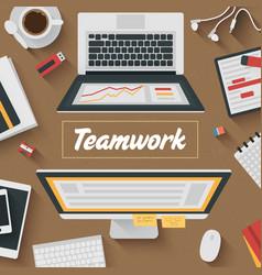 Trendy Flat Design Teamwork office vector