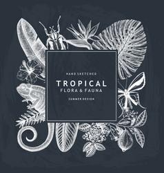 tropical wreath design won chalkboard invitation vector image