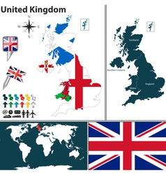 United Kingdom map with regions and flags vector image