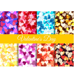 valentines day set seamless pattern with hearts vector image