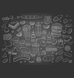 Vintage hand drawn fast food elements on vector