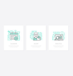wage calculation - line design style icons set vector image