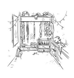 Walk-in closet garderobe drawing interior vector