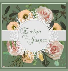 wedding vertical floral invitation invite card vector image