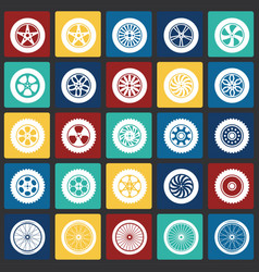 Wheel icons set on color squares background for vector