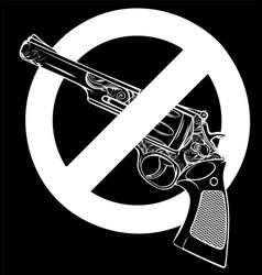White silhouette symbol no gun on vector