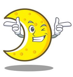 Wink crescent moon character cartoon vector