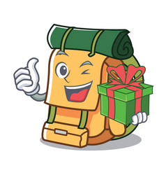 With gift backpack mascot cartoon style vector