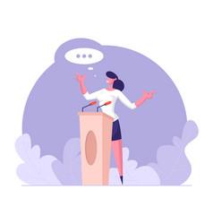 Woman speaker standing behind podium vector