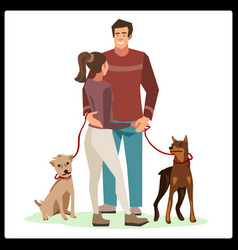 Young people guy and girl talking stood in a vector