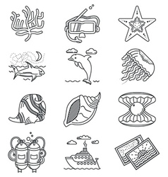 Black line icons for tropical rest vector image vector image