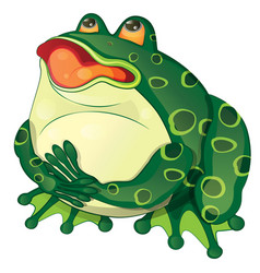 cartoon fat frog sits and croaks vector image vector image