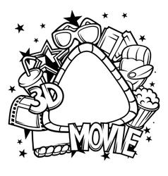 Cinema and 3d movie frame in cartoon style vector image vector image