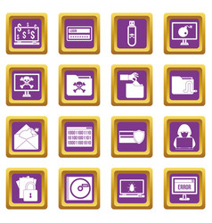 criminal activity icons set purple vector image