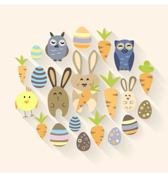 Easter eggs birds rabbits and carrots icons vector image vector image
