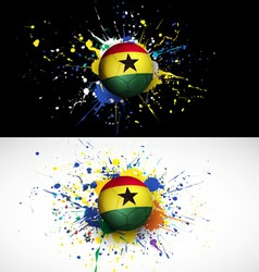 Ghana flag with soccer ball dash on colorful vector image