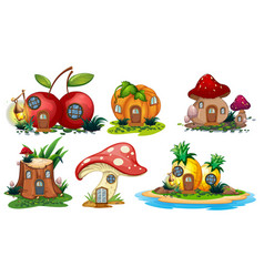 mushroom and fruit houses vector image