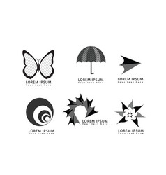 abstract butterfly umbrella arrow logo icons set vector image