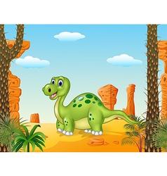 Cartoon happy dinosaur with prehistoric background vector image