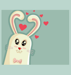 cute easter bunny with heart shaped ears vector image vector image