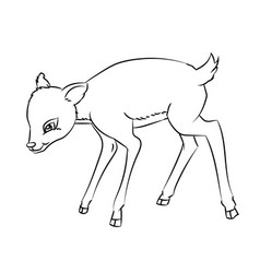 deer rat cartoon - line drawn vector image vector image