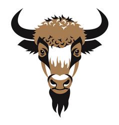 head of bison vector image vector image