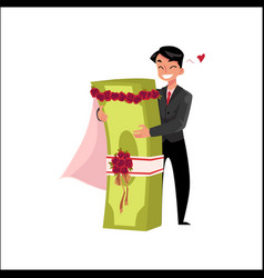 Office worker in love with bundle of money vector