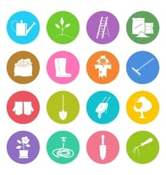 Round Multicolored Icons Gardening Equipment vector image vector image