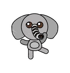 drawing elephant animal character vector image vector image