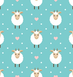 Polka dots seamless pattern with cute goat vector image