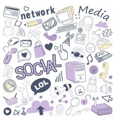 social media hand drawn doodle with bubble vector image