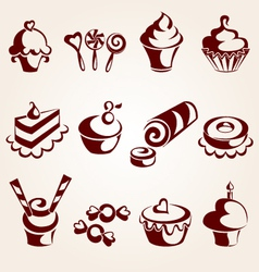 sweet pastry set vector image vector image
