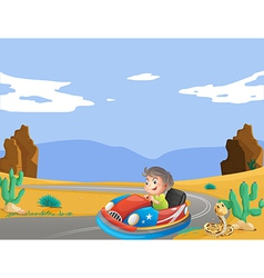 A young boy travelling at the desert vector