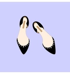 Black Shoes Fashion Glamour Shopping Girl Style vector image