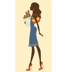 Elegant woman shopping vector image vector image