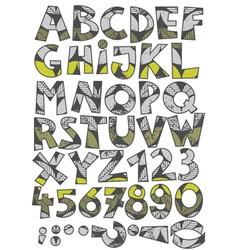 Retro leaf font set vector image vector image