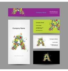 Set of business cards with floral letter A design vector image vector image