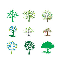 tree landscapes nature logo design vector image