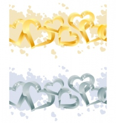 two seamless heart borders vector image vector image