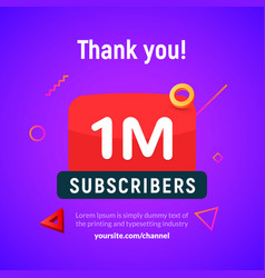 1 million followers post 1m celebration vector image