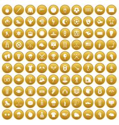 100 baseball icons set gold vector