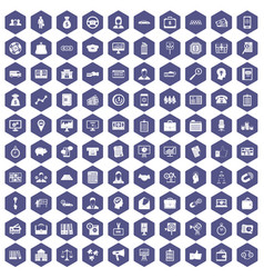 100 business group icons hexagon purple vector image
