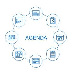 8 agenda icons vector