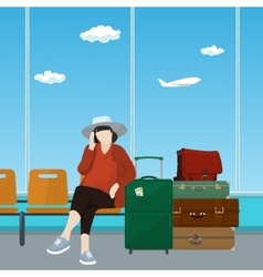 Airport Waiting Room with Woman vector
