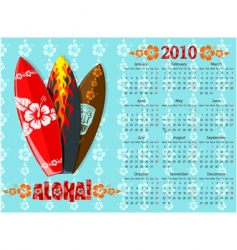 Aloha calendar with surf boards vector