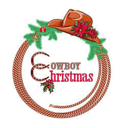 American cowboy Christmas background isolated on vector