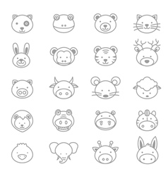Animals Icons Line Set vector