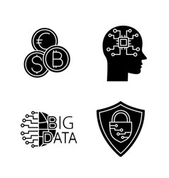 Artificial intelligence glyph icons set vector