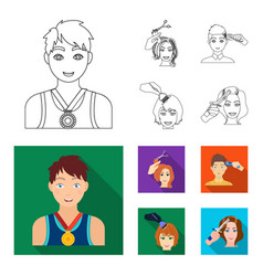 athlete with a medal a haircut with an electric vector image
